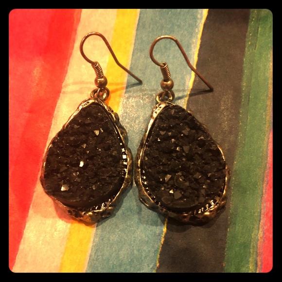 Jewelry - 3 for $15 - Black Druzy Rough Edge Dangle Earrings